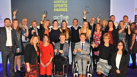 Last year's Norfolk Sports Awards winners at the Forum. Picture by SIMON FINLAY.