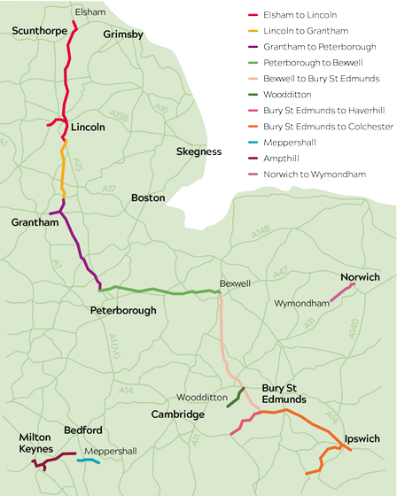 Phases of the Anglian Water pipeline project from the North to the East of England