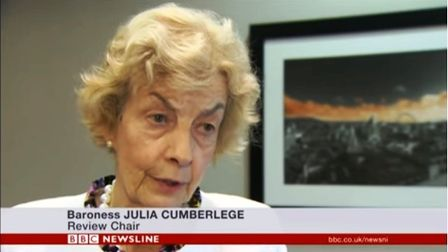 Baroness Cumberlge talks to BBC News Online in Belfast in an interview iwth Marie Louise Connolly
