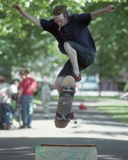 A skater demonstrates how to do an ollieat the Norwich Skateboard Rally in Chapelfield Gardens in July 1997.