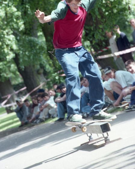 Skater shows how to grind at the Norwich Skateboard Rally in Chapelfield Gardens in July 1997