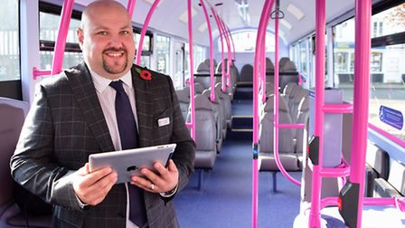 Chris Speed, general manager, on one of the new First Eastern Counties buses on the Green Line Wymon