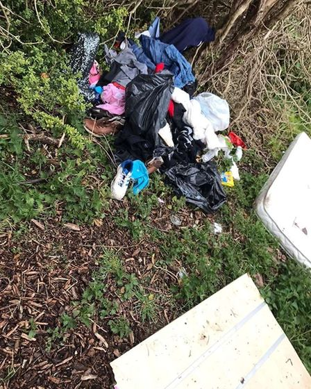 The rubbish was fly-tipped inKimms Belt, Thetford.