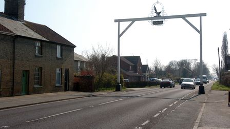 The Magpie sign overhanging the A140 at Little Stonham was struck by a vehicle on Tuesday