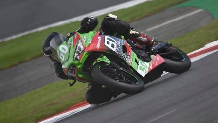 Fred McMullan, from Leiston, riding in his second race at Donington Park.