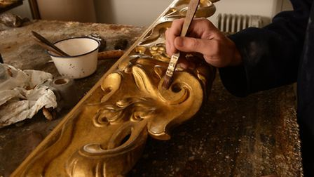 The re-gilding work on The Paston Treasure picture