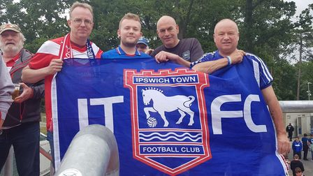 Ipswich fans with Fortuna Blues founding member Friedie Schacht at a friendly game Picture: GERALD