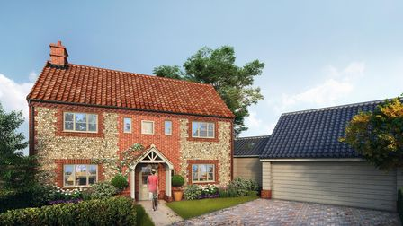 CGI image showing exterior of a two-storey brick and flint house with integrated garage and block paved driveway