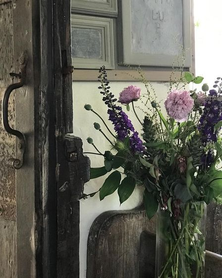 Flowers for a wedding arranged by Bedfield villagers in preparation for Creation festival in St Nicholas Church