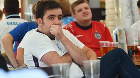 England v Denmark at The Railway Tavern in DerehamFirst half fan reaction and goal