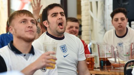 England v Denmark at The Railway Tavern in Dereham First half fan reaction and goal