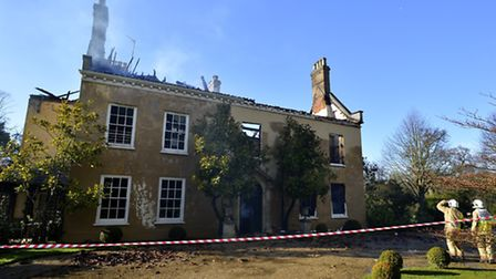 The fire that broke out at Oulton Hall. Picture: MARK BULLIMORE