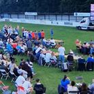 England fans cheer on the Three Lions at Soham Town Rangers FC