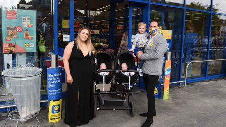 Lidl Area Manager Beau Thompson with his children Scarlett, Willow and Jaxx and partner Claire Hutch