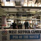 Tris Alvis (Old Cannon brewer)Martin Bate, (West Suffolk CAMRA) and Charlie Gerard (The Old Cannon managing partner).