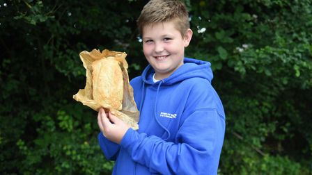 Kyden with his pepperoni bread. Year 5 and 6s at Stoke By Nayland Primary school had a bread baking
