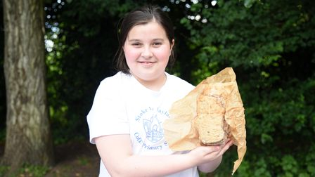 Evie with her sour burst loaf. Year 5 and 6s at Stoke By Nayland Primary school had a bread baking c