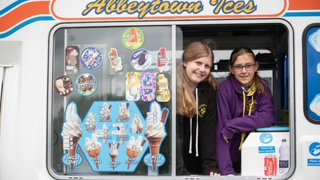 Poppy-Anne and Chloe testing out their arithmatic serving ice-creams. Picture: Sarah Lucy Brown