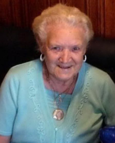 June Harvey... died at 85 when 60ft crane came crashing through her home