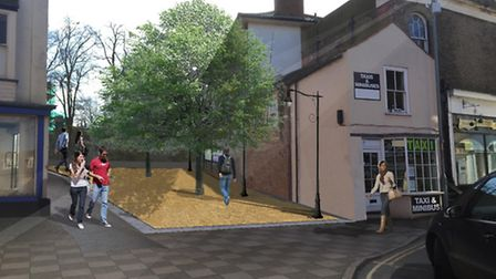 An artist's impression of the landscaped area at 4a Market Street, North Walsham