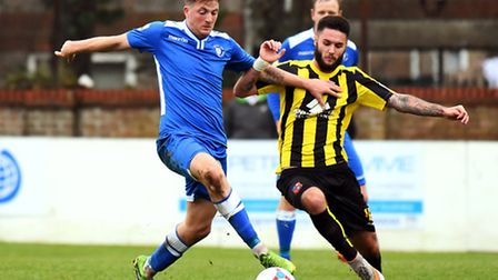 Michael Spillane returns from suspension for Lowestoft Town today against Solihull Moors. Picture: J