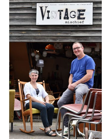 Danielle and Simon outside of their vintage shop, based at The Old Dairy