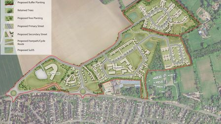Masterplan for the Tuttles Lane East development, showing plans for homes, a care home and land for a sixth form centre.