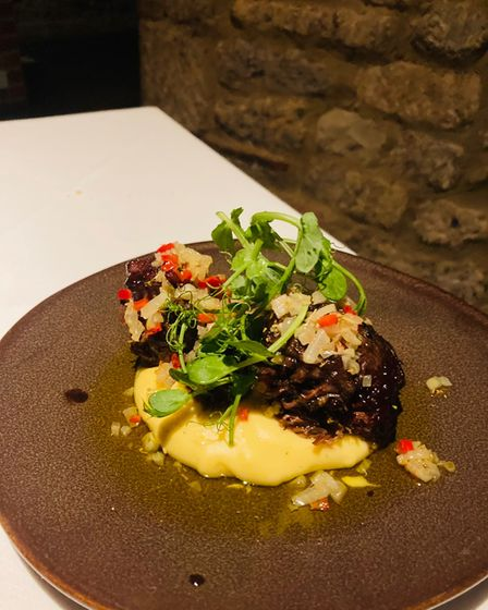 Braised beef cheeks with fennel and chilli on polenta at The Angel