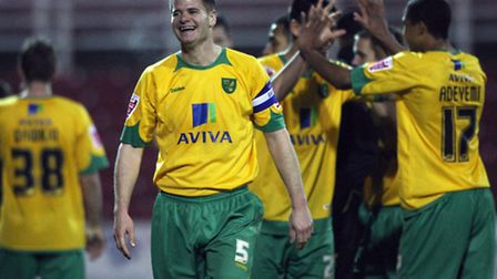 Michael Nelson celebrates after Norwich City win the penalty shoot-out in the Johnstone's Paint Trop