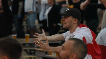 Football fans at The Arena in Sprowston watching the England v Denmark Euros match. Picture: Daniell