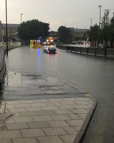 Glimpse of what Peterborough looked like tonight (Friday) after flash floods hit the city.