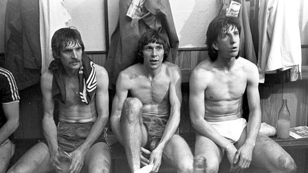 Dressing room scene: Town players (from left) Frans Thijssen, Arnold Muhren and Paul Mariner take in
