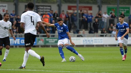 Macauley Bonne hits the crossbar with this first half effort during the pre-season friendly at Dartf