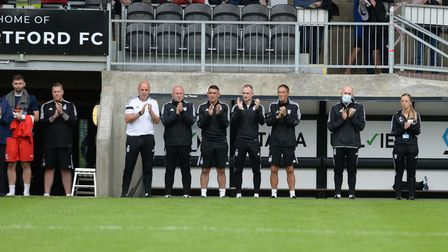 The Town management team remember Paul Mariner before the pre-season friendly at Dartford
