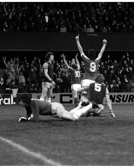 The best goal ever at Portman Road? Paul Mariner celebrates his winner against Aston Villa in the 1981 FA Cup.