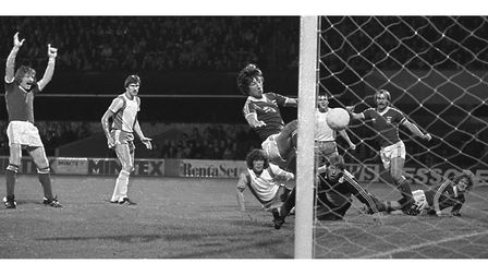 Paul Mariner puts the ball in the net at Portman Road in September 1978 during a match with AZ '67 Alkmaar