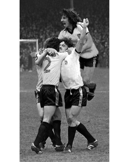 Ipswich Town v West Bromwich Albion in an FA Cup Semi-final April 1978. Paul Mariner joining in John Wark's goal celebration