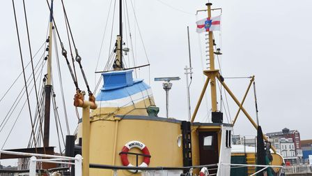 The flag flying on The Mincarlo, highlighting its Suffolk heritage.