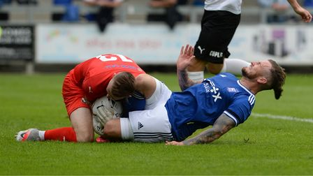 James Norwood in action during the pre-season friendly against Dartford