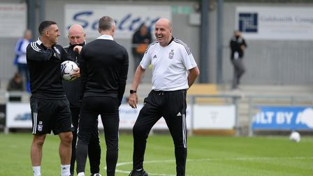Ipswich Manager Paul Cook and his team before the pre-season friendly win at Dartford