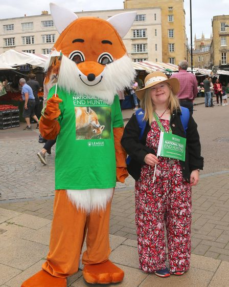 League Against Cruel Sports 'fox', staff, volunteers and members of the public in Cambridge.