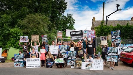 Protesters set up camp outside Cambs animal testing breeding facility.