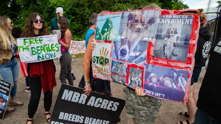 Protesters set up camp outside Cambs animal testing breeding facility.Marshall BioResources (MBR)'