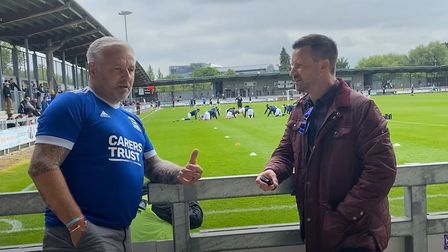 Mark Heath, right, catches up with Ipswich Town fans at Dartford