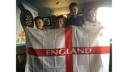 Flying the flag for England at the Ole Frank, Paddy M, Cohen, Joel Frosdick and Jenson Denning.