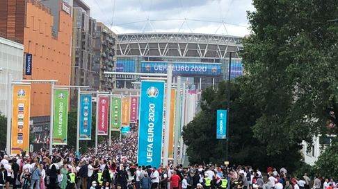 Ian Odgers, of Dereham, is watching the Euro 2020 final at Wembley - pictured is his arrival