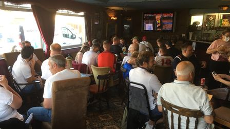 Come on England! Fervent fans following the Three Lions at the Ole Frank PH.