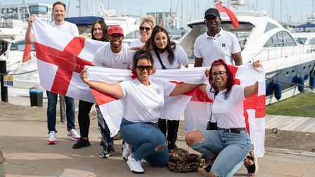Fans get ready for the England v Italy Euros 2020 final. Picture: Sarah Lucy Brown