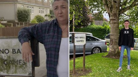 Harry finds the 'No Ball Games' signed used in an iconic scene with Mandy and her dog Tyson.