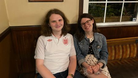 Daniel Richardson and Rachel Dunn watch on at the Rose Tavern in Norwich.